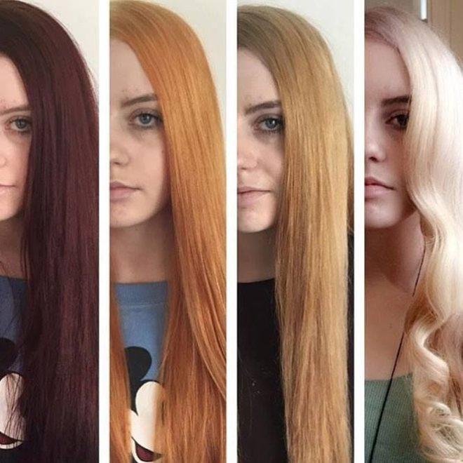перекрашивание волос из темного в светлый